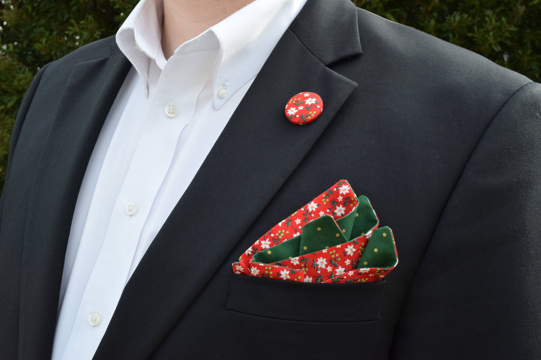 Mistel Einstecktuch Weihnachten Einstecktuch rot und grün | Etsy