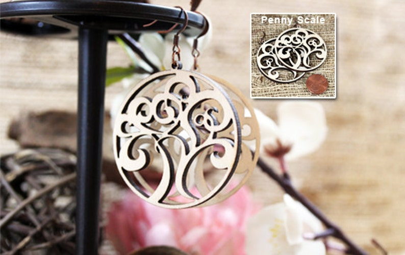 Wood Laser Cut Tree Earrings image 0
