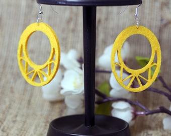 Felt Yellow Laser Cut Earrings
