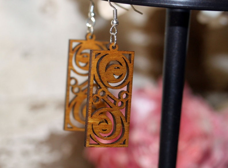 Woodcut Earrings  surgical steel light wood light weight image 0