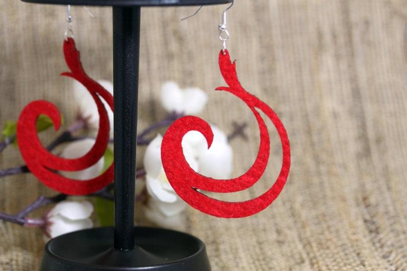 Red Felt Laser Cut Earrings image 0