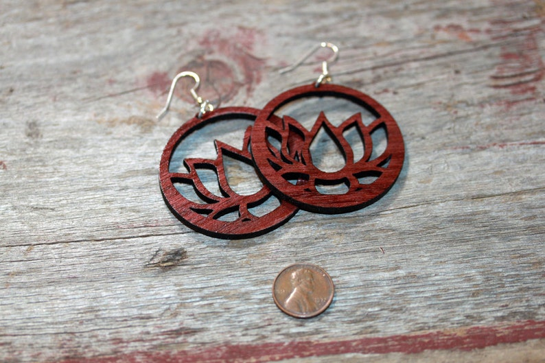 Wood Lotus Earrings  light weight surgical steel ear wires image 0
