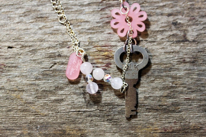 Acrylic Necklace Artisan Made Laser Cut with Antique Key image 0