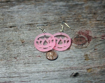 Lucite Lotus Earrings Pink, Green or White