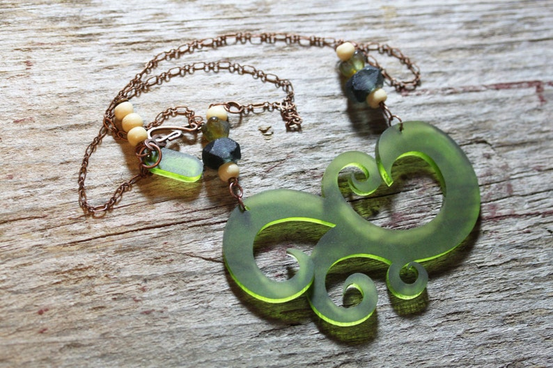 Acrylic Lucite Green Swirl Necklace with sea glass beads image 0