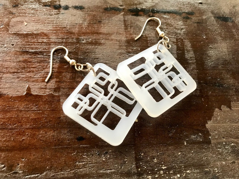 Laser Cut Lucite Earrings Square White image 0