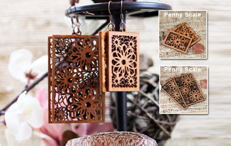 Birch Woodcut Earrings Rectangular Flower Small and Large image 0
