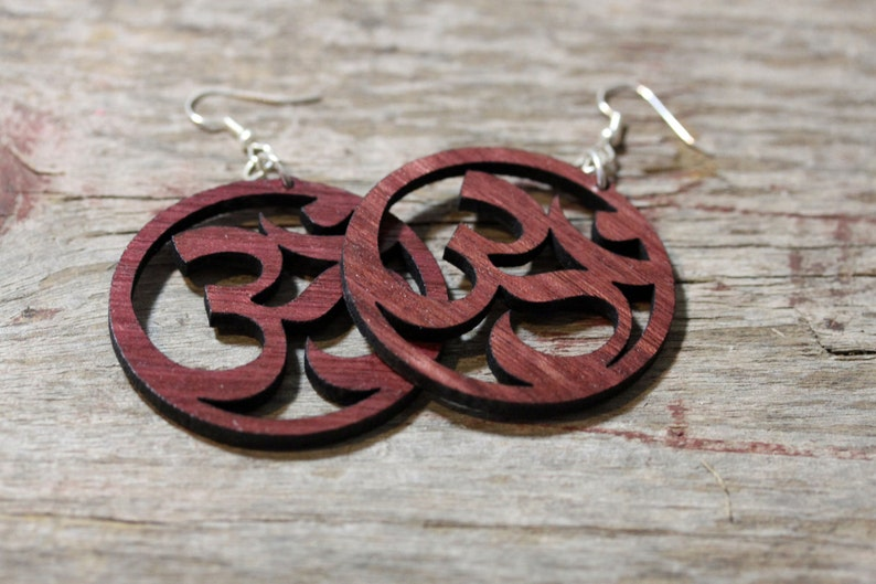 Large Wood Om Earrings  light weight surgical steel ear image 0