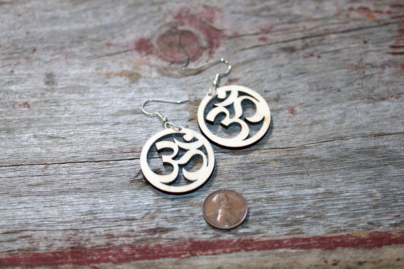 Small Om Yoga Wood Cut Earrings  light weight surgical steel image 0