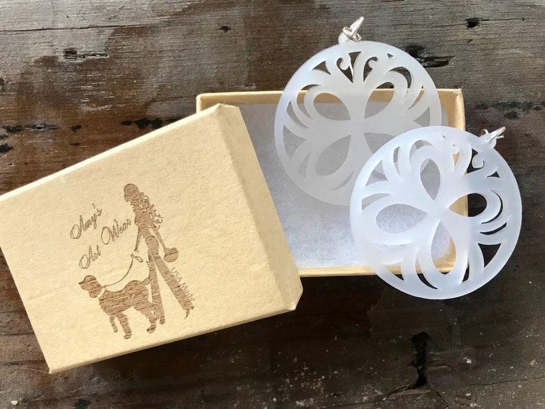 Laser Cut Lucite Butterflies Earrings White image 0