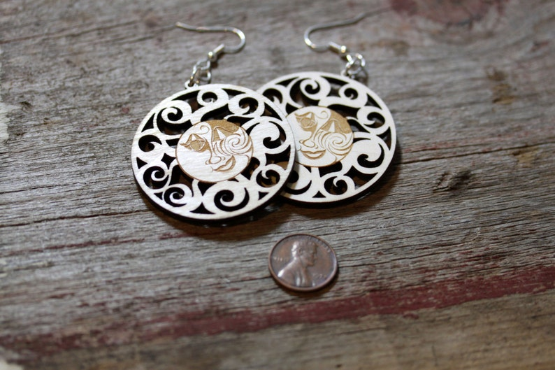 Laser Cut Wood Sun Earrings image 0