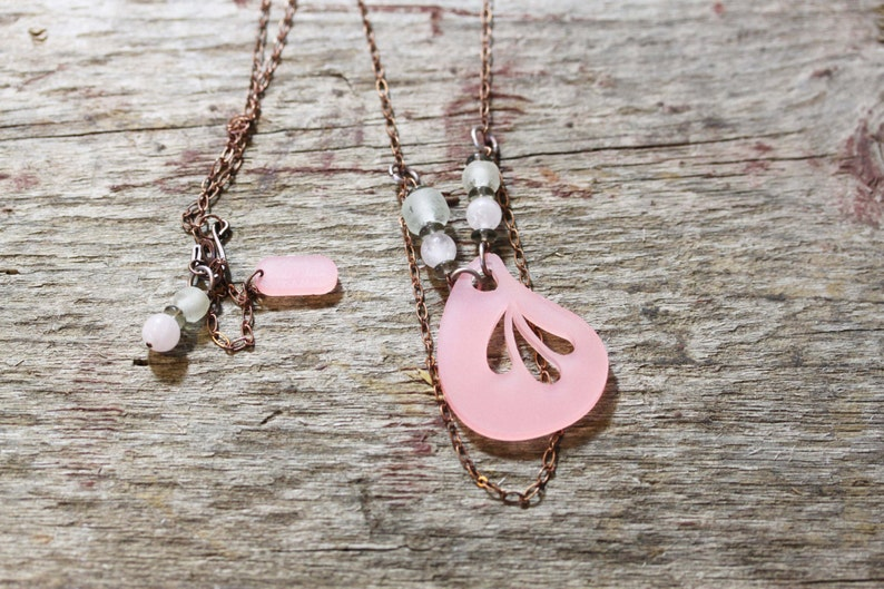 Acrylic Laser Cut Artisan Jewelry Pink Lucite Lux Necklace image 0