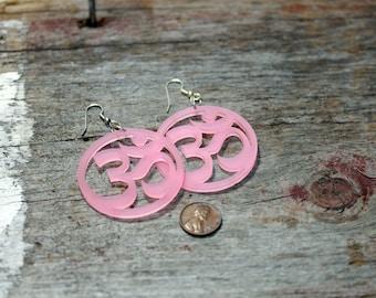 Om Lotus Earrings Pink, Green or White