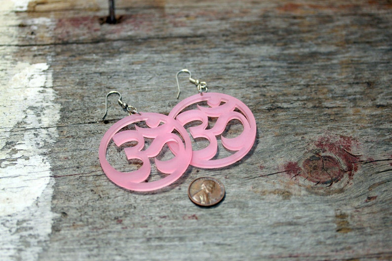 Om Lotus Earrings Pink Green or White image 0