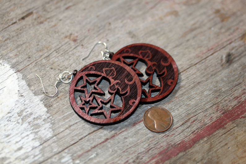 Light weight wood cut moon and stars jewelry image 0