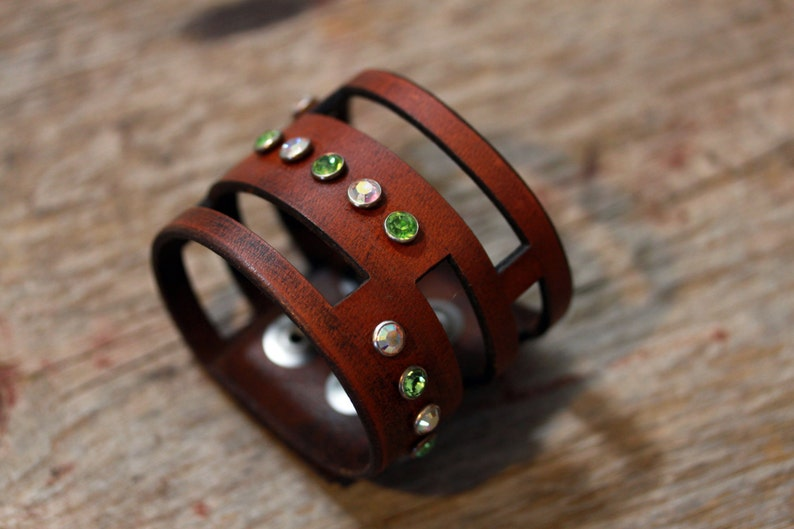 Brown Leather Cuff Art jewelry wearable art jewelry leather image 0