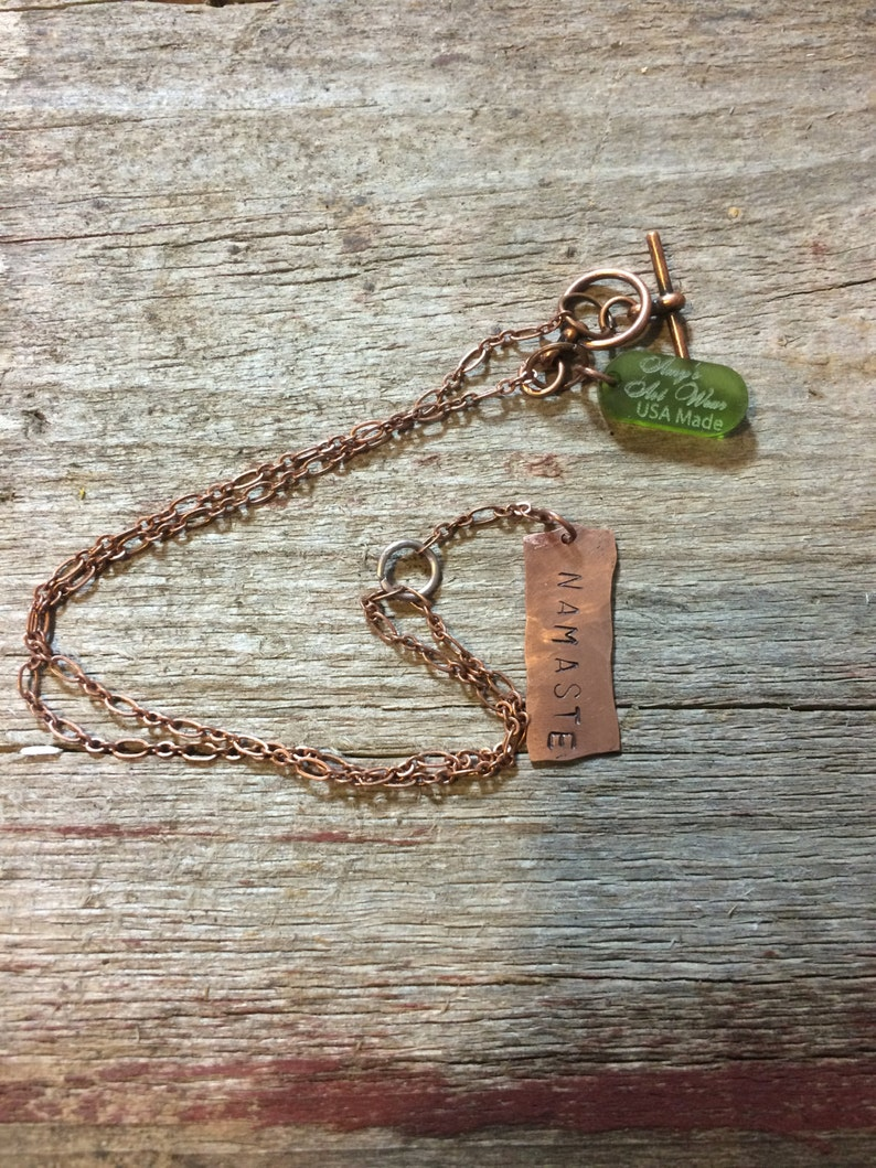 Namaste copper necklace  light weight copper yogie gift image 0