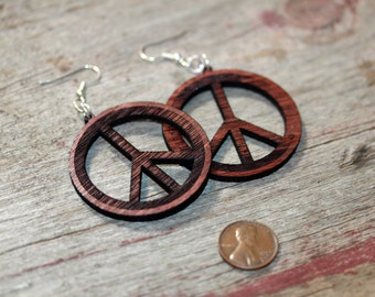 Peace Wood Cut Earrings