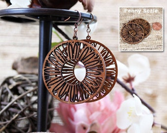 Laser cut wood earrings, Light weight birch wood jewelry- whimsical jewelry, mom, mothers day, surgical steel ear wires