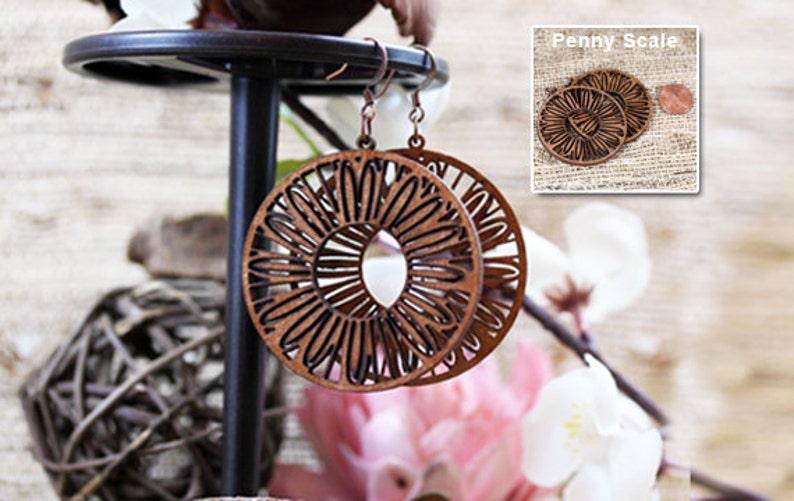 Laser cut wood earrings Light weight birch wood jewelry image 0