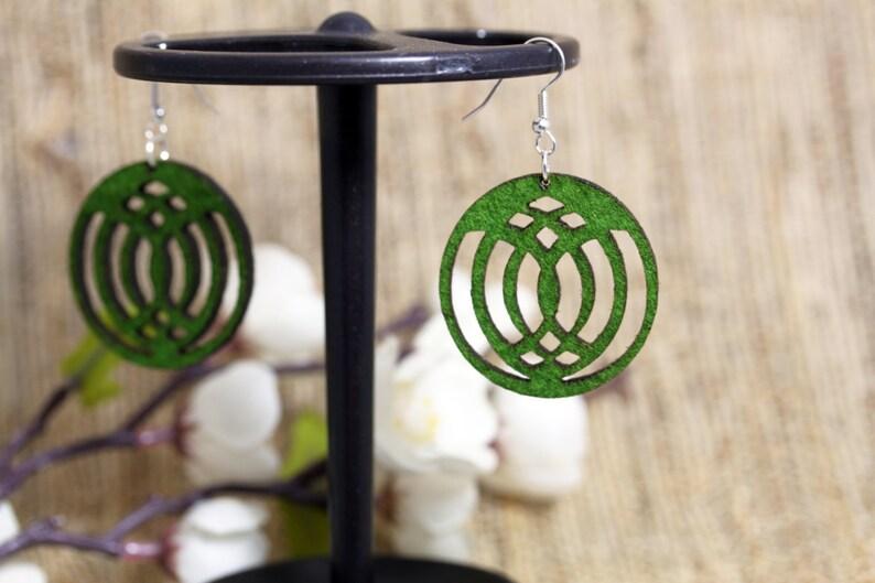 Felt Jewelry Earrings Modern Laser Cut affordable bff gift image 0