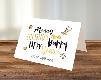 Personalised Christmas A5 Card - Merry Christmas and Happy New Year! - Gold Foil