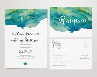 Wedding Stationery Set – Invite & RSVP - DIY Personalised and Printable