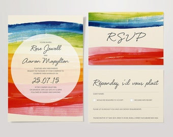 Wedding Rainbow Watercolour Stationery Set – Invite & RSVP – DIY Personalised and Printable