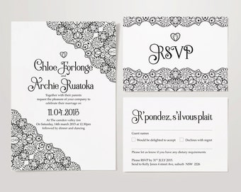 Wedding Black and White 'Lace' Stationery Set – Invite and RSVP - DIY Personalised & Printable