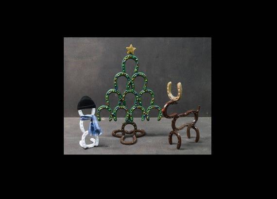 Christmas Horseshoe Art.Mini Horseshoe Art Christmas Decor Set Christmas Tree Snow Man And Reindeer Decorations