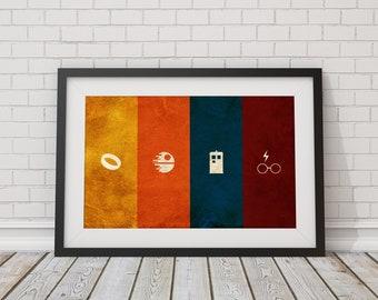 Geek Poster - Fantasy & Sci-Fi Nerdy Wall Art - Minimalist Wall Art Print 36x24