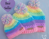 Pastel Rainbow Colours, Rainbow Beanie, Rainbow Newborn Beanie, Rainbow Adult Beanie, Messy Bun Beanie, Pom Pom Beanie, Unicorn Inspired