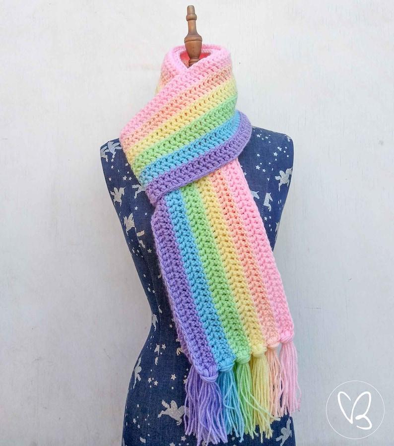 Rainbow Tasseled Scarf Unicorn Scarf Pastel Rainbow image 1