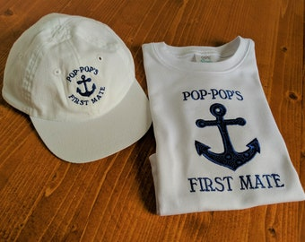 Personalized Nautical First Mate Cap & T-shirt Set, Custom Infant Toddler Youth Sailor Outfit,Personalized Baby Shower Gift,Fathers Day Gift