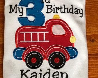 Custom Kids Firetruck  Birthday Shirt Gift, Personalized Firetruck Shirt Outfit, Infant Toddler Youth Firefighter T-Shirt, Baby Gift Fireman