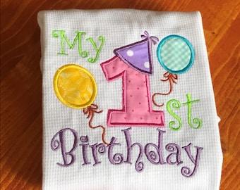 Party Balloon First Birthday Onesie Bodysuit,First Birthday Girl Boy Outfit,First Birthday Photo Prop,Handmade Custom Onesie Outfit Bodysuit