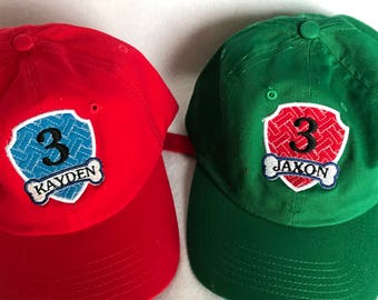 Paw Patrol Birthday Cap Hat,Custom Youth Baseball Cap,Personalized Infant Toddler Youth Baseball Hat,Customized Paw Patrol Baseball Cap Hat