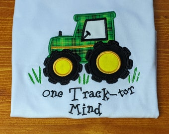 Custom Boys Tractor T Shirts for Toddlers, Personalized Kids Tractor Tops Shirt Embroidered, Applique Tractor Baby Shower Gift Ideas