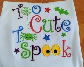 Personalized Cute Halloween Toddler Shirt, Custom Halloween Baby Onesie Gift, Too Cute to Spook Halloween Shirt Boy Girl