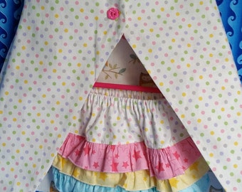 Ready To Ship- Handmade Reversible Open Toddler Dress / Ruffle Bloomer Set, Owl  & Polka Dot Diaper Cover Outfit
