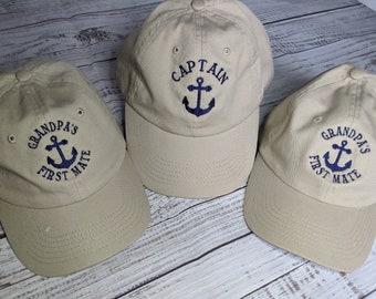 Captain First Mate Matching Adult Child  Baseball Cap Set, Nautical Caps Sets, Grandpa Kids Cap Sets, Daddy Baby Boy Girl Coordinating Caps