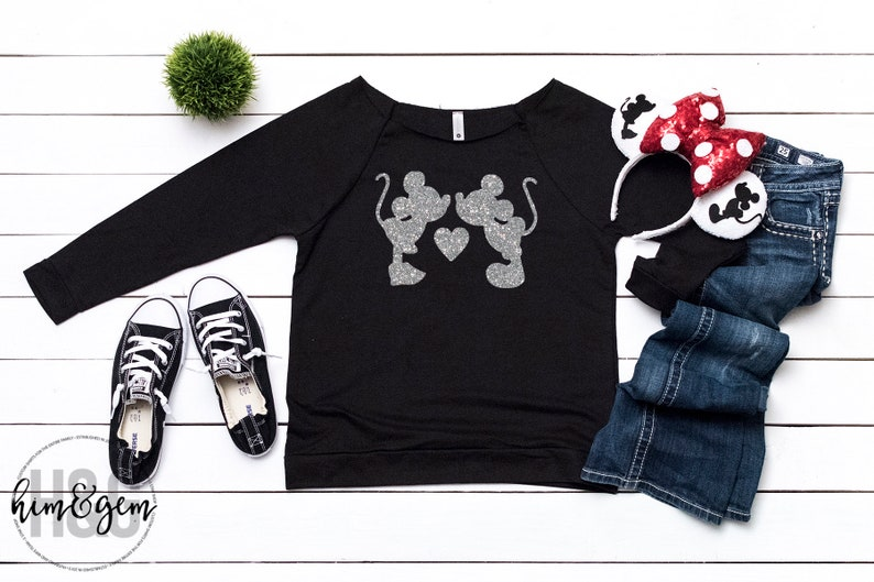 f2aa2310 ... women crew neck tee; glitter mickey mouse minnie kissing shirt silver  glitter etsy; disney ...