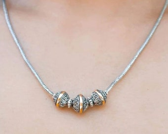 Bali Silver Ball Beads Necklace with Gold 18 K inlay    Bali Handmade Silver Jewelry Free Shipping