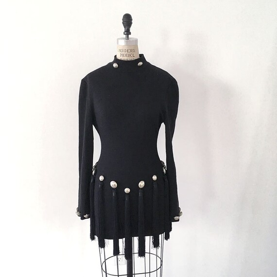 80s Vintage PATRICK KELLY Paris tassel little blac