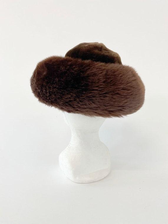 60s Vintage Italian Fur leather mountain hat - image 3