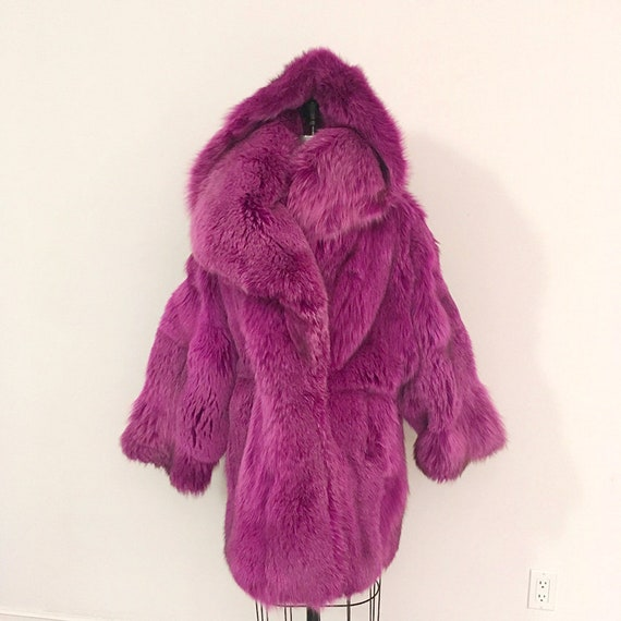80s Vintage PATRICK KELLY Pink Fox fur coat