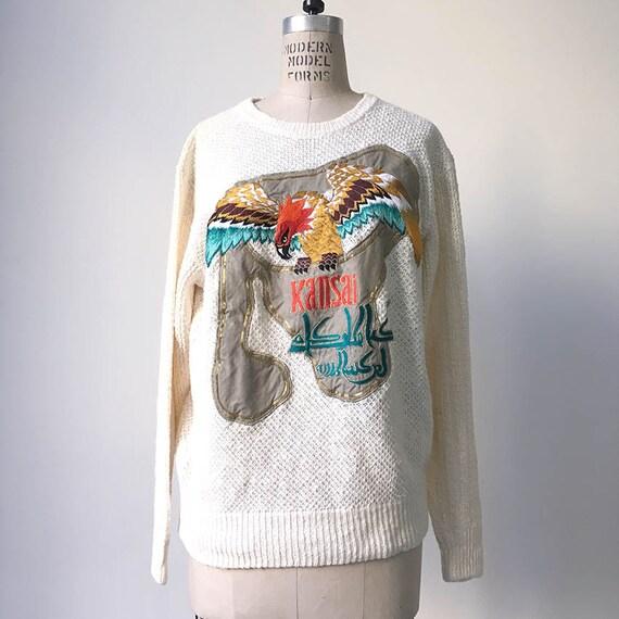 80s Vintage KANSAI YAMAMOTO embroidery sweater