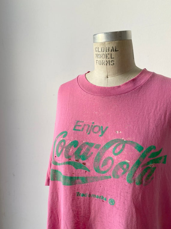 80s Vintage Distressed Coca Cola Pink shirt