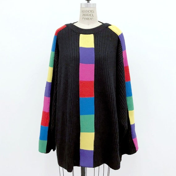 80s Vintage PATRICK KELLY Rainbow Rib knit Sweater