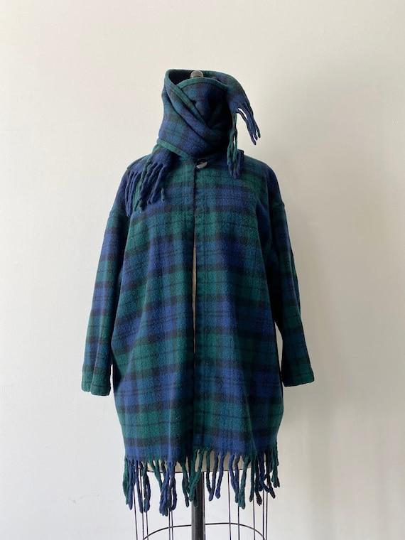 70s Vintage Pendleton Fringe Scarf Plaid wool Jack